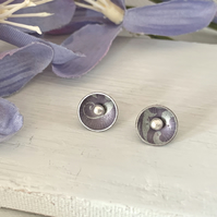 Printed Aluminium and sterling silver domed stud earrings - soft purple