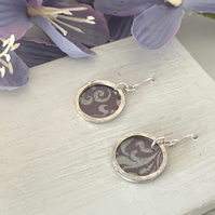 Printed Aluminium and sterling silver earrings - soft heather