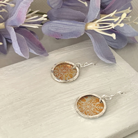 Printed Aluminium and sterling silver earrings - orange floral snow flake