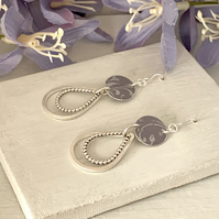 Printed Aluminium and sterling silver tear drop earrings - soft heather