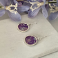 Printed Aluminium and sterling silver earrings - purple script and butterfly