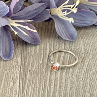 Sterling silver and Swarovski stacking ring - Rose Peach