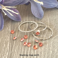 Sterling silver and Swarovski stacking ring set  - Rose Peach