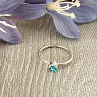 Sterling silver and Swarovski stacking ring - Light Turquoise