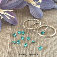 Sterling silver and Swarovski stacking ring set  - Light Turquoise