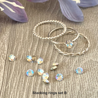 Sterling silver and Swarovski stacking ring set  - Crystal Shimmer
