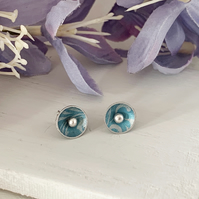 Printed Aluminium and sterling silver domed stud earrings - turquoise