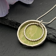 Sterling Silver and Printed Aluminium Halo Pendant - Green Butterfly