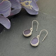 Sea Glass and Sterling Silver drop earrings