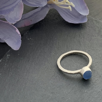 Sterling Silver and Sea Glass ring size N