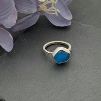 Sterling Silver and Sea Glass ring size N and a half