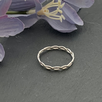 Simple sterling silver stacking ring (plaited  band)