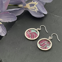 Printed Aluminium and sterling silver earrings - duck egg and pink
