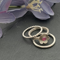 Sterling Silver and Swarovski Flower Stacking ring set - more colours available