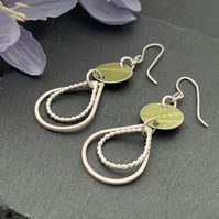 Printed Aluminium and sterling silver earrings - lime green
