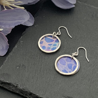 Printed Aluminium and sterling silver earrings - Blue lace print