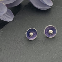Printed Aluminium and sterling silver domed stud earrings