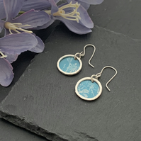 Printed Aluminium and sterling silver earrings - Sky Blue