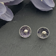 Printed Aluminium and sterling silver domed stud earrings - purple