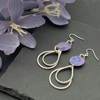 Printed Aluminium and sterling silver tear drop earrings - Purple lace print