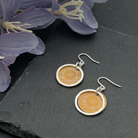 Printed Aluminium and sterling silver earrings - orange mandala