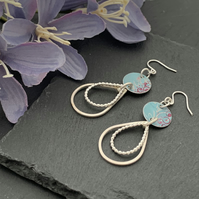Printed Aluminium and sterling silver tear drop earrings - Aqua and pink