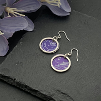 Printed Aluminium and sterling silver earrings - purple swirly print