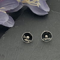 Printed Aluminium and sterling silver domed stud earrings - black script