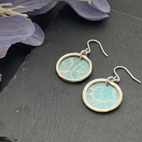 Printed Aluminium and sterling silver earrings - soft teal