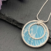 Sterling Silver and Printed Aluminium Halo Pendant - Turquoise butterfly wings