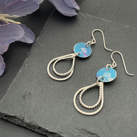Printed Aluminium and sterling silver earrings - Turquoise mini flower