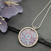 Sterling Silver and Printed Aluminium Halo Pendant - Turquoise and Pink Mandala