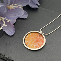 Sterling Silver and Printed Aluminium Halo Pendant - orange floral mandala
