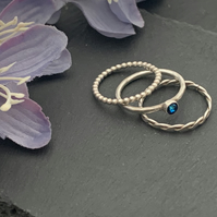 Sterling silver and swarovski stacking ring set  - Crystal Bermuda Blue