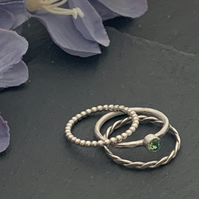 Sterling silver and Swarovski stacking ring set  - Erinite