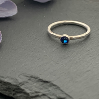 Sterling silver and swarovksi stacking ring - Crystal Bermuda Blue