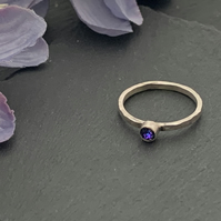 Sterling silver and swarovksi stacking ring - Crystal Heliotrope
