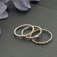 Sterling silver and Swarovski stacking ring set  - Crystal Heliotrope