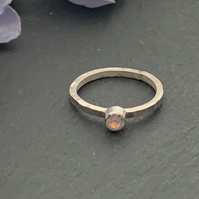 Sterling silver and Swarovksi stacking ring - Rose Water Opal