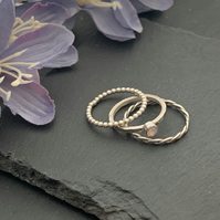 Sterling silver and Swarovski stacking ring set  - Rose water Opal
