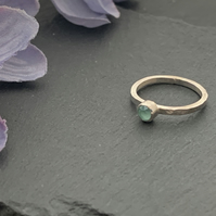 Sterling silver and swarovski stacking ring - Crystal Mint Green
