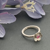Sterling Silver and Swarovski Crystal Flower ring - more colours available