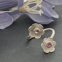 Sterling Silver and Swarovski Flower wrap around ring - choice of colours