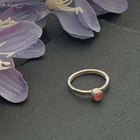 Sterling silver and swarovski stacking ring - Crystal Light Coral