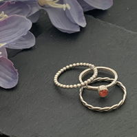 Sterling silver and Swarovski stacking ring set  - Crystal Light Coral