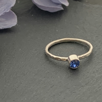 Sterling silver and Swarovski stacking ring - Sapphire