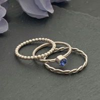 Sterling silver and Swarovski stacking ring set  - Sapphire