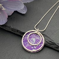 Sterling Silver and Printed Aluminium Halo Pendant - Purple Peacock