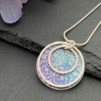 Sterling Silver and Printed Aluminium Halo Pendant - Blue and purple Mandala