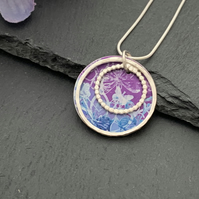 Sterling Silver and Printed Aluminium Halo Pendant - Turquoise purple botanical